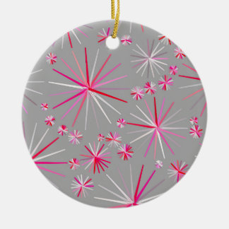 Mid Century Sputnik pattern, Grey and Fuchsia Ceramic Ornament