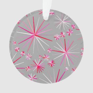 Mid Century Sputnik pattern, Grey and Fuchsia Ornament