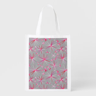 Mid Century Sputnik pattern, Grey and Fuchsia Reusable Grocery Bags