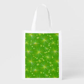 Mid Century Sputnik pattern, Olive Green Grocery Bag