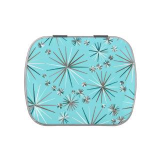 Mid Century Sputnik pattern, Robin's Egg Blue Candy Tin