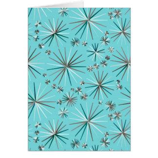 Mid Century Sputnik pattern, Robin's Egg Blue Stationery Note Card