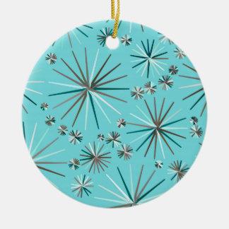 Mid Century Sputnik pattern, Robin's Egg Blue Ceramic Ornament
