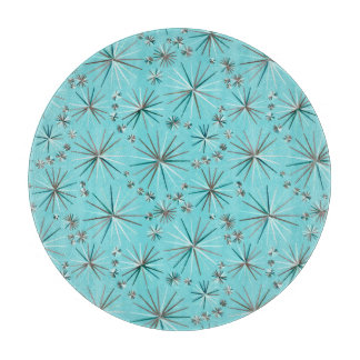 Mid Century Sputnik pattern, Robin's Egg Blue Cutting Board