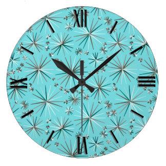 Mid Century Sputnik pattern, Robin's Egg Blue Large Clock