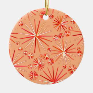 Mid Century Sputnik pattern, Shades of Coral Ceramic Ornament