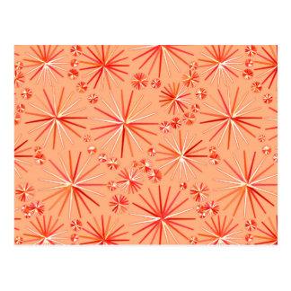 Mid Century Sputnik pattern, Shades of Coral Postcard