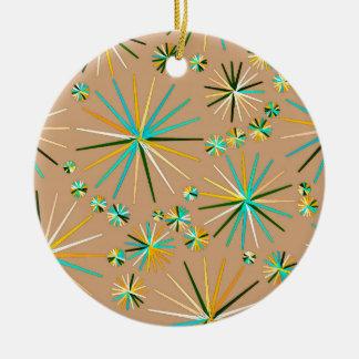 Mid Century Sputnik pattern, Taupe Tan Ceramic Ornament