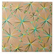 Mid Century Sputnik pattern, Taupe Tan Ceramic Tile