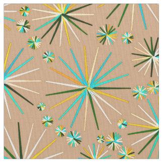 Mid Century Sputnik pattern, Taupe Tan Fabric