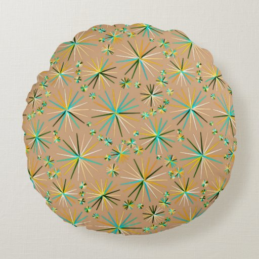 Mid Century Sputnik pattern, Taupe Tan Round Pillow Zazzle