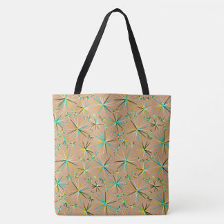 Mid Century Sputnik pattern, Taupe Tan Tote Bag