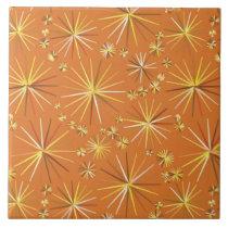 Mid Century Sputnik pattern, Terracotta Ceramic Tile