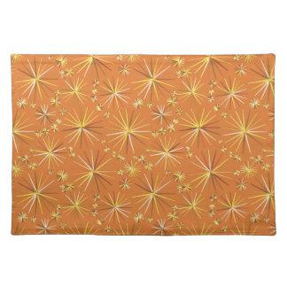 Mid Century Sputnik pattern, Terracotta Cloth Placemat