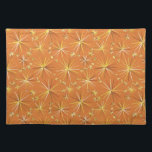 """Mid Century Sputnik pattern, Terracotta Placemat<br><div class=""""desc"""">Digital reproduction of a Mid-Century Modern wallpaper pattern of spiked spheres inspired by the original Russian &quot;Sputnik&quot;satellite - shades of gold,  chocolate and beige on a terracotta / clay / light rust brown background</div>"""