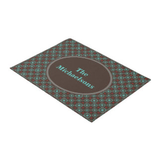 Mid Century Stars Turquoise and Red Personalized Doormat