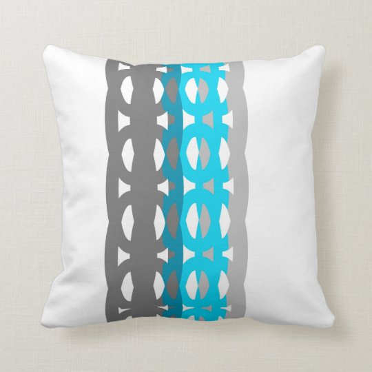 mid century style pillow turquoise and gray design
