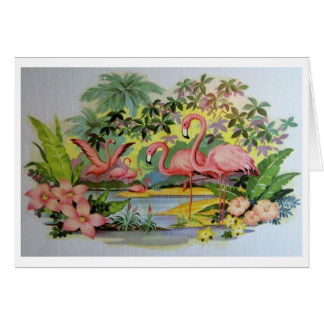 Mid-century vintage flamingo graphic card