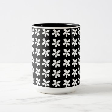 Beach Themed Mid-Night-Black-Daises-Coffee-Travel-Mugs & More Two-Tone Coffee Mug