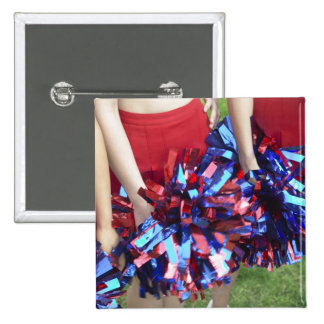 Mid Section View of Three Cheerleaders Pinback Buttons