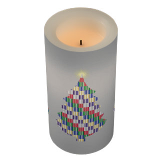 Mid-Sized Holiday Color Swatches Christmas Tree Flameless Candle