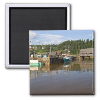 Mid tide at the Bay of Fundy at St. Martins, New 2 Inch Square Magnet