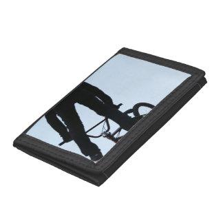 Midair BMX Jump Silhouette Trifold Wallets
