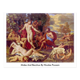 Midas And Bacchus By Nicolas Poussin Postcard