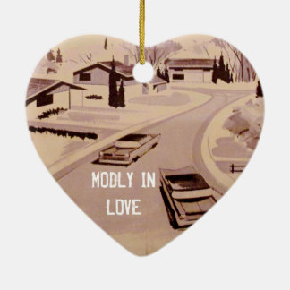 Midcentury Modern Architecture - Modly in Love Ceramic Ornament