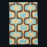 "Midcentury modern geometric squiggly shapes hand towel<br><div class=""desc"">Midcentury modern classic geometric squiggly shapes pattern in retro color scheme of brown,  aqua and beige. Great for vintage or retro mid century kitchen or bar.</div>"