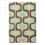 Midcentury modern geometric squiggly shapes hand towel<br><div class='desc'>Midcentury modern classic geometric squiggly shapes pattern in retro color scheme of brown,  aqua and beige. Great for vintage or retro mid century kitchen or bar.</div>