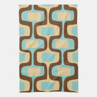 Midcentury modern geometric squiggly shapes hand towel