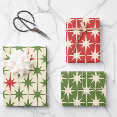 Midcentury Modern Retro Christmas Starbursts Wrapping Paper Sheets