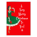 MidCentury Modern Single Girl Merry Christmas Red Card