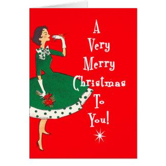MidCentury Modern Single Girl Merry Christmas Red Card