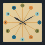 """Midcentury Modern Starburst Retro Clock<br><div class=""""desc"""">Midcentury Modern Starburst design on this retro style clock. Color scheme from the 1950s and 60s on this cool kitschy retro clock.</div>"""