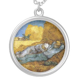 Midday Rest, Vincent Van Gogh Round Pendant Necklace