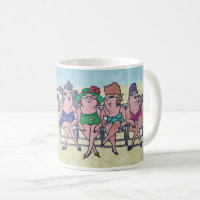 Middle aged bathing beach beauties Coffee Mugs