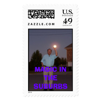 middle aged guy holding the moon postage