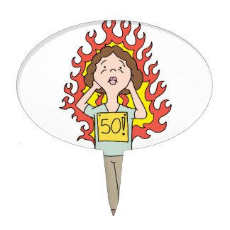 Middle aged woman hot flash cake topper