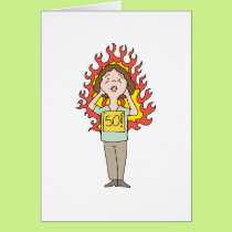 Middle aged woman hot flash card