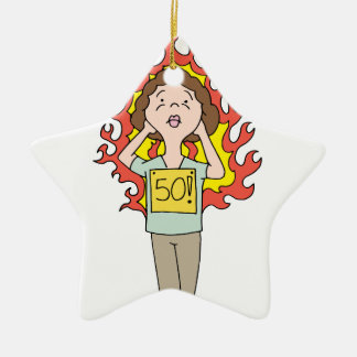 Middle aged woman hot flash ceramic ornament