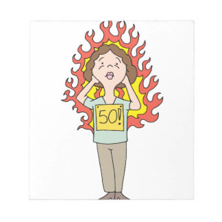 Middle aged woman hot flash notepad