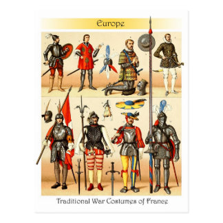 Middle Ages Traditional War Costumes of France Postcard