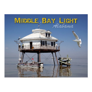 Middle Bay (Mobile Bay) Lighthouse, Alabama Postcard
