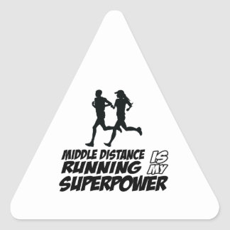 Middle distance running triangle sticker