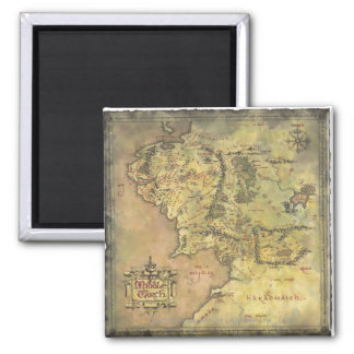 Middle Earth Map 2 Inch Square Magnet