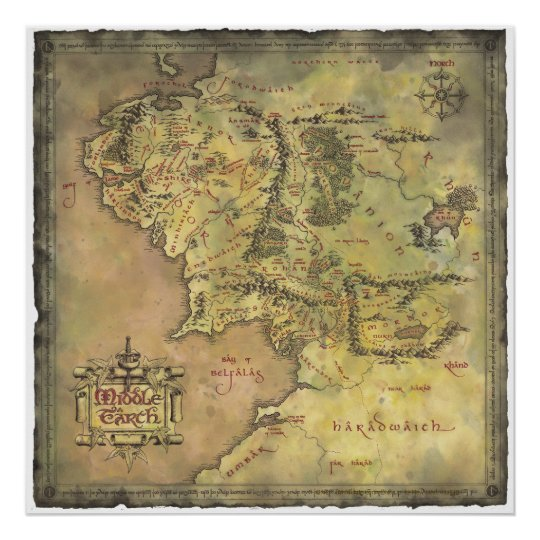 Middle Earth Map Poster | Zazzle.com