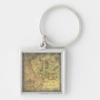 Middle Earth Map Silver-Colored Square Keychain
