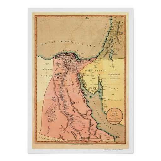 Middle East Egypt Map - 1800 Posters